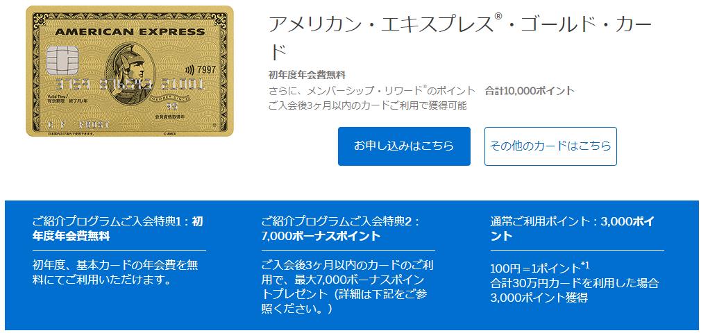 アメックス・ゴールド・カードの紹介プログラム